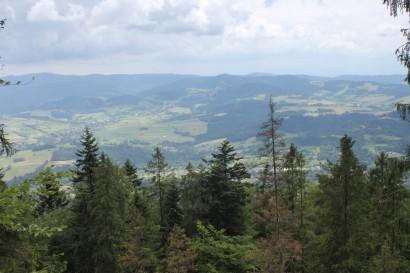 Widok na Gorce z gołoborza na zboczach Lubonia Wielkiego